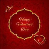 Happy Valentine gilded hearts vector. Happy Valentine day  gilded hearts red background vector illustration Stock Photos