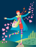 Happy Valentine Girl. Smiling girl sowing Valentine hearts and love into the air as she skips down the path of life. Vector illustration Stock Photo