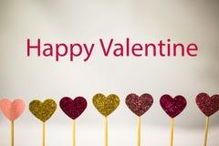 Happy Valentine, with glitter hearts Royalty Free Stock Photo
