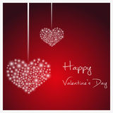 Happy valentine with hanging hearts from little lights eps10 Stock Images