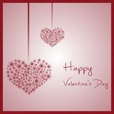 Happy valentine with hanging hearts from little red lights eps10 Royalty Free Stock Images