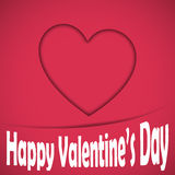 Happy valentine heart card. Happy valentine's card with shadowed heart on the background. Vector illustration Stock Photos