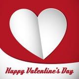 Happy valentine heart card white. Happy valentine's heart card with white shadowed heart on the background. Vector illustration Royalty Free Stock Photo
