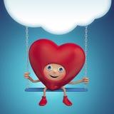 Happy Valentine heart cartoon holding banner Stock Photo