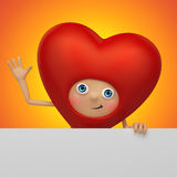 Happy Valentine heart cartoon holding tag Stock Photo