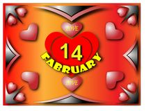 Happy Valentine. Heart framed patterns on an orange background with the word love on February 14 vector illustration
