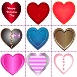 Happy Valentine heart nine style Stock Images