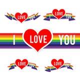 Happy Valentine Heart and Rainbow Ribbon 001 Stock Photos