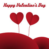 Happy valentine hearts card red. Happy valentine's card with two red shadowed flying hearts on the background. Vector illustration Royalty Free Stock Photos