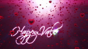 Happy Valentine, holiday background, red hearts falling stock video