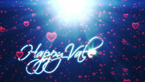 Happy Valentine, holiday background with red hearts stock video footage