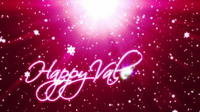 Happy Valentine, holiday background with snowflakes against red stock video