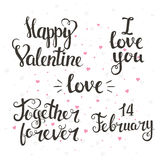 Happy Valentine, I Love You, Together Forever, 14 February. Royalty Free Stock Photo