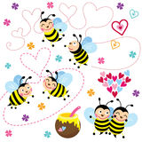 Happy Valentine love Bee. A Vector Illustration of Happy Valentine love Bee Royalty Free Stock Images
