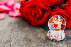Happy valentine. Love surrounding by red rose Stock Image
