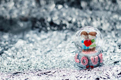 Happy valentine. Love and wedding surrounding by silver shine bokeh Royalty Free Stock Images
