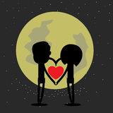 Happy valentine with the moon Royalty Free Stock Photo
