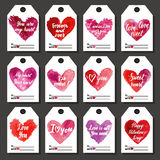 Happy Valentine or other holiday tags. For gifts set. Hand drawn vector illustration Stock Photography