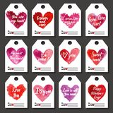 Happy Valentine or other holiday tags. For gifts set. Hand drawn vector illustration Stock Photo