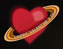 Happy Valentine. Red hearth with rings and text happy valentines day on black background with stars Stock Images