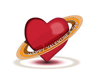 Happy Valentine. Red hearth with rings and text happy valentines day on white background with shadows Royalty Free Stock Photo