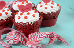 Happy Valentine red velvet cupcakes Stock Images