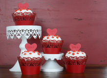 Happy Valentine red velvet cupcakes Stock Photos