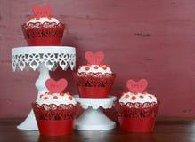 Happy Valentine red velvet cupcakes Stock Photos