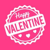 Happy Valentine rubber stamp white on a pink background. Happy Valentine rubber stamp white on a pink background Royalty Free Illustration