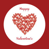 Happy Valentine's. Valentine's Day card with hearts and circular background Royalty Free Stock Photography
