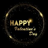 Happy Valentine`s background with shining gold and glowing lights text on black background. Vector.  royalty free illustration