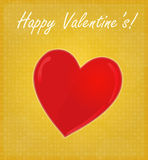 Happy Valentine's Card with Glossy Heart Golden Background Stock Photos
