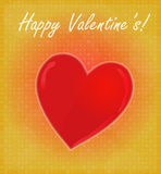 Happy Valentine's Card with Glossy Heart Red & Golden Background Royalty Free Stock Photos