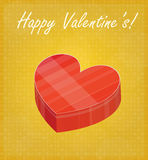 Happy Valentine's Card with Heart Shaped Box Golden Background Royalty Free Stock Image