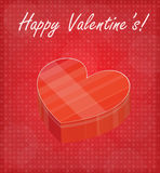 Happy Valentine's Card with Heart Shaped Box Red Background Royalty Free Stock Photo