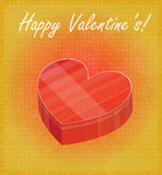 Happy Valentine's Card with Heart Shaped Box Red & Golden Background Royalty Free Stock Photo