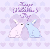 Happy Valentine`s card with hearts and kissing rabbits. On pink background Royalty Free Stock Images