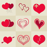 Happy Valentine's celebration with collection of hearts. Stock Photos