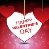 Happy valentine`s on dark red bokeh background Stock Photos