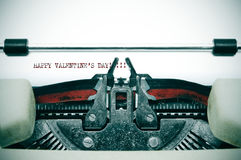 Happy valentine's day. Written on an antique typewriter Royalty Free Stock Photography