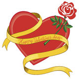 Happy Valentine's day. Valentine heart with golden ribbon and rose Royalty Free Stock Images