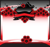 Happy Valentine's Day. Abstract colorful illustration with red flowers, black bubbles and black hearts. Valentine's Day design Stock Photo