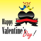 Happy Valentine's Day. Abstract colorful illustration with two lovebirds kissing on a black heart. Valentine's Day theme Stock Photos