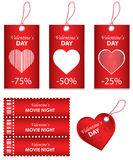 Happy Valentine's Day. Price tag and ticket Stock Images