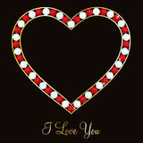 Happy Valentine's Day!. Ruby encrusted heart card in  format Stock Photography
