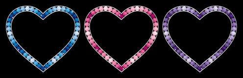 Happy Valentine's Day!. Sapphire, aquamarine, tourmaline, pink diamond, tanzanite and amythest encrusted hearts in  format Stock Photo
