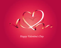 Happy valentine's Day. Heart love card, valentine day, background with ribbon,  illustration Royalty Free Stock Photography