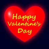 Happy Valentine's Day. On Shining heart on dark background vector illustration