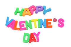 Happy Valentine's Day. Alphabets on white background Stock Photos