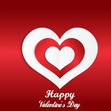Happy Valentine`s Day abstract background with cut paper red heart. Valentine`s Day greeting card. Vector illustration. Happy Valentine`s Day abstract Royalty Free Stock Images